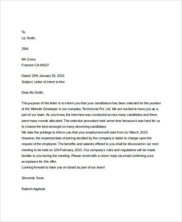 employment offer letter of intent1