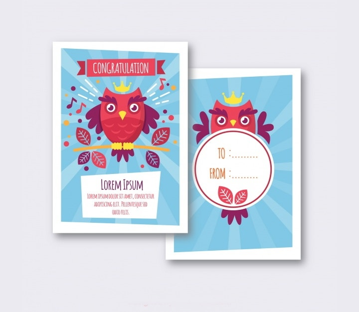 cute owl card vectors