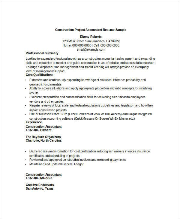 construction accountant resume templates construction project accountant