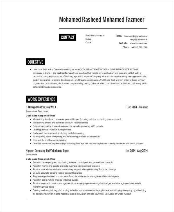 25 printable accountant resume templates pdf doc free construction company accountant resume maxwellsz