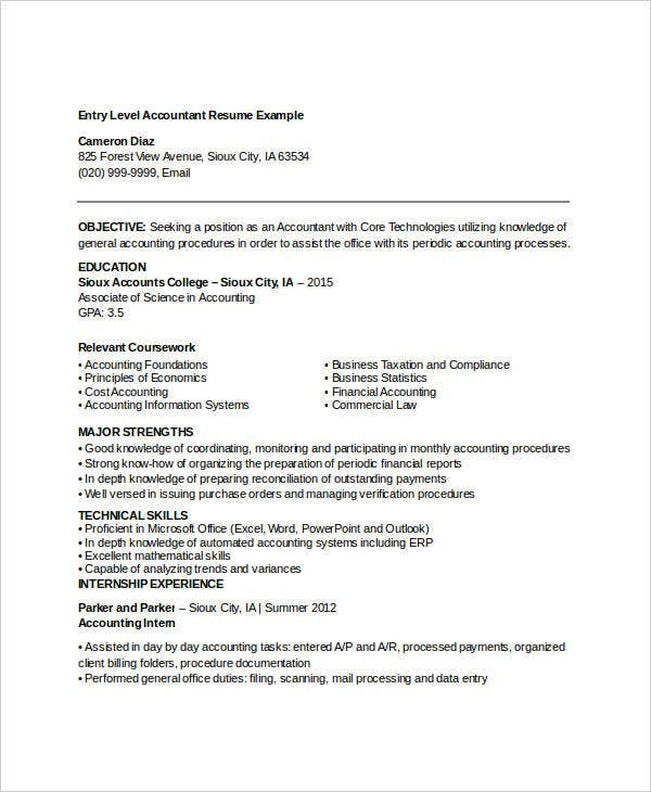 Entry Level Accountant Resume Example. Coverlettersandresume.com  Entry Level Accountant Resume
