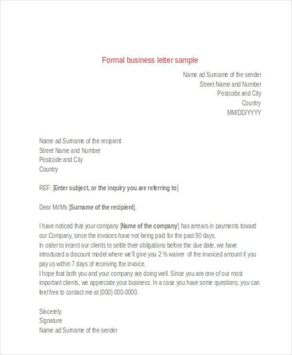 Formal letter format sample business spiritdancerdesigns Gallery