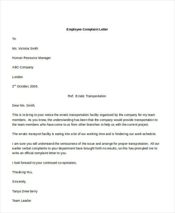51 formal letter format template free premium templates employee formal complaint letter4 altavistaventures Image collections