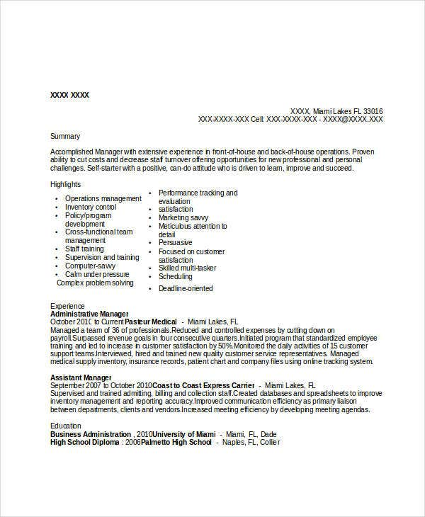 medical-administrative-manager-resume