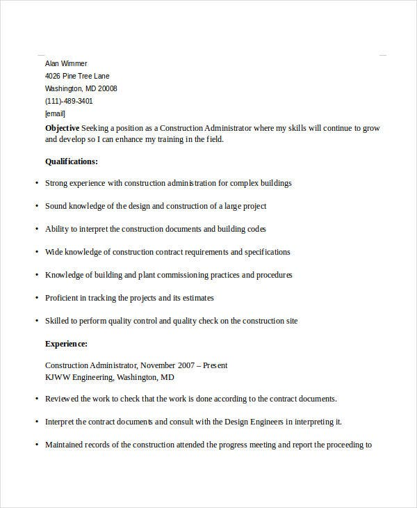 construction administrative resume example1