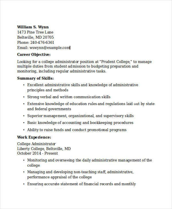 College Administrator  Administrative Skills For Resume