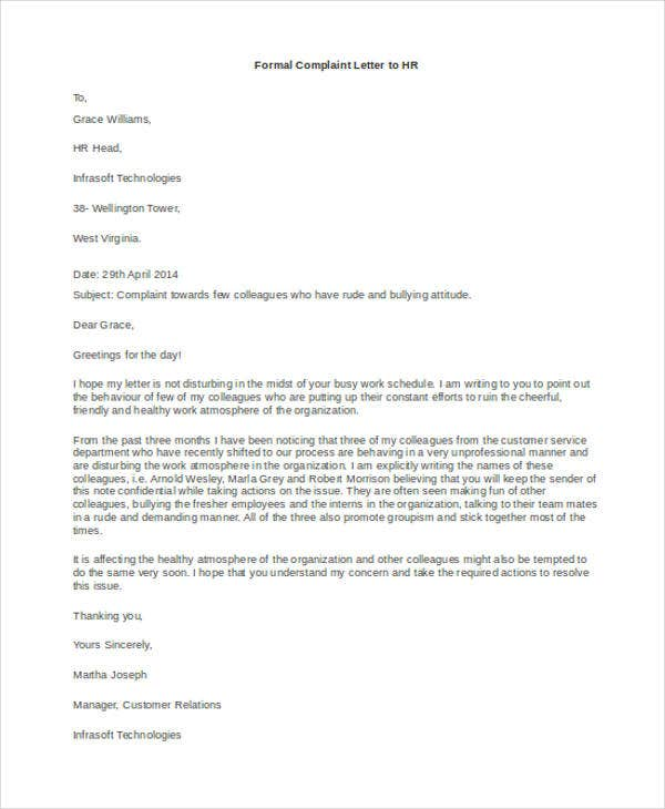 formal complaint letter to hr7