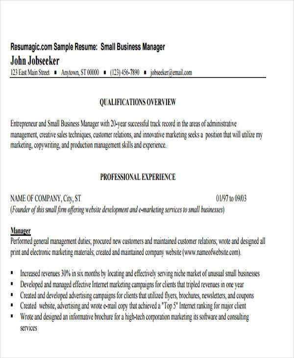 small business manager resume4