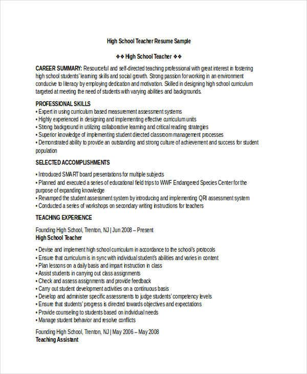 Attractive High School Teacher Resume Download2