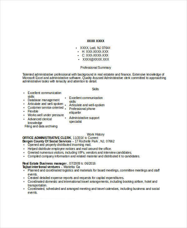 Office Administrative Clerk. Resumes.livecareer.com