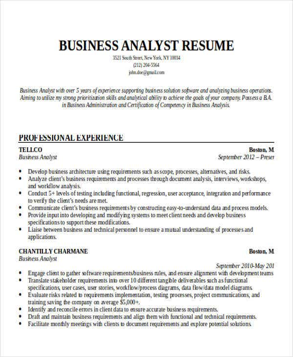 business analyst resume template 15 free sles sle