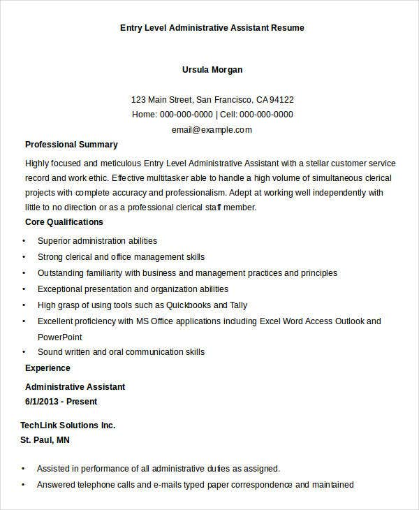 entry level administrative assistant resume ideas food