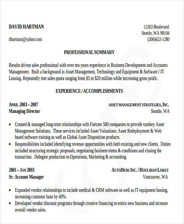 business development resume sample1