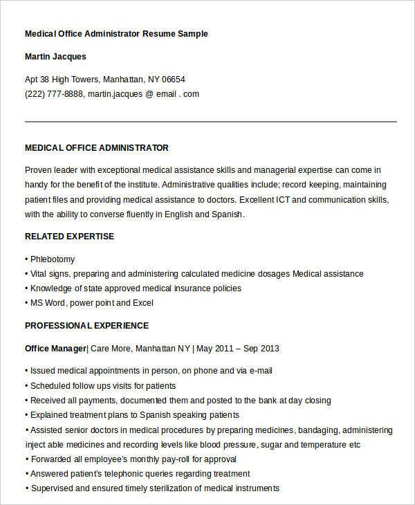 Best Office Administrative Resume. Medical Office Administrator Resume  Sample  Office Administrator Resume