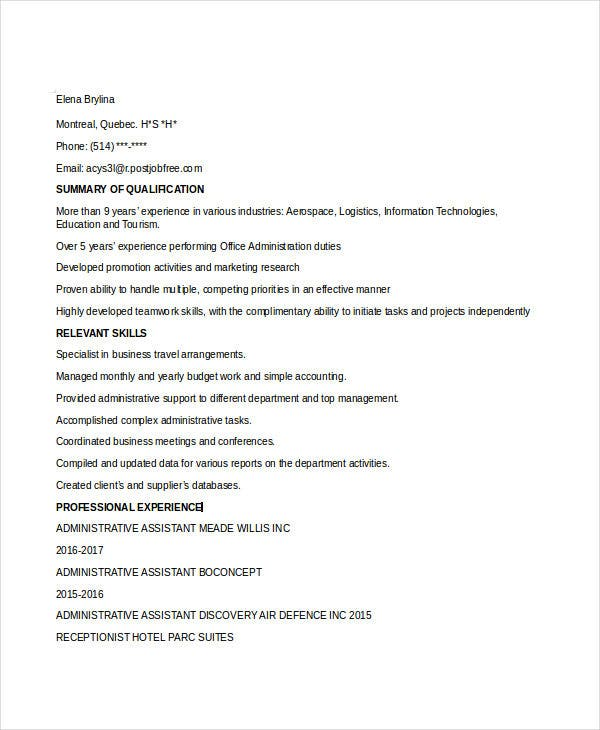 administrative assistant executive resume