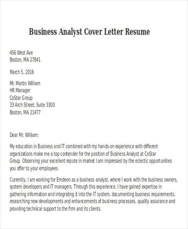 business analyst cover letter resume