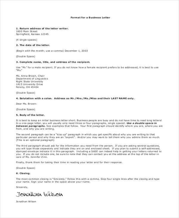 formal business letter address format