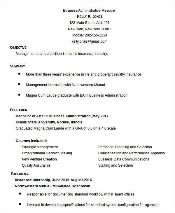 Business Administrative Resume Sample