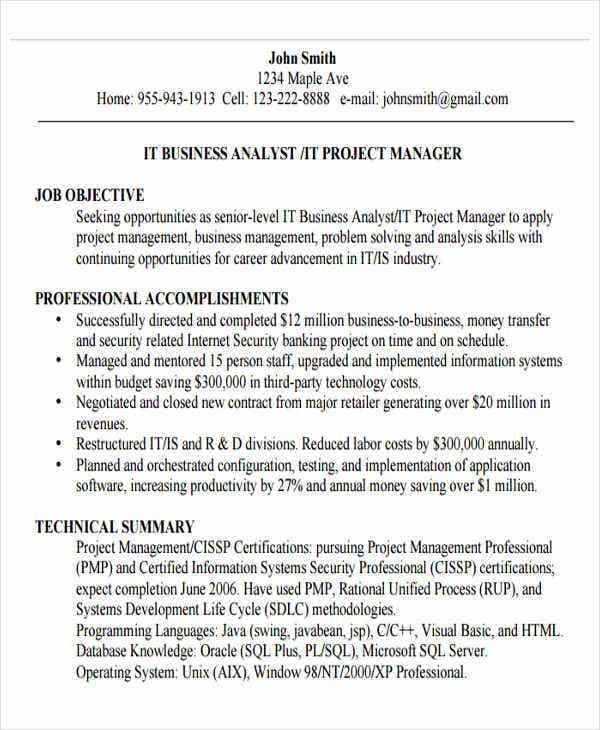 Business Analyst Manager Resume3
