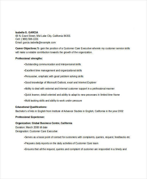 customer care executive sample resume