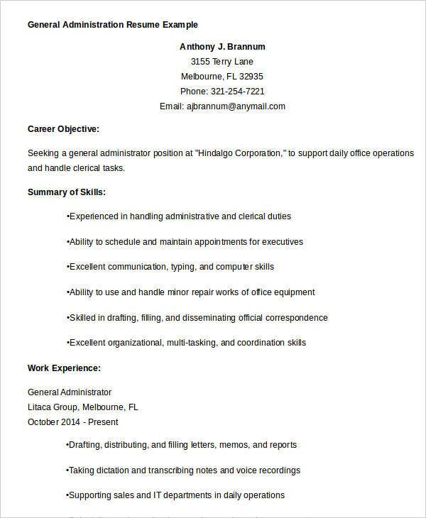 General-Administration-Resume-Example Office Job Resume Format on for teacher, cover letter, computer science, for designers, sample fresher, civil engineer, 12th pass, high school, sample chronological, for fresh graduates, sample canadian,