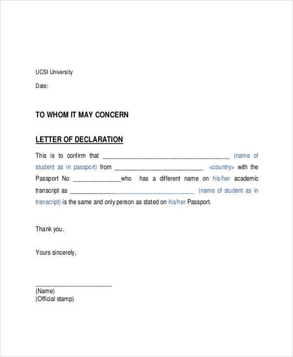 sample formal declaration letter