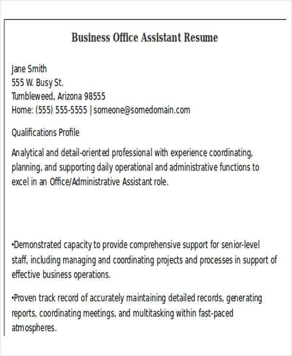 business office assistant resume