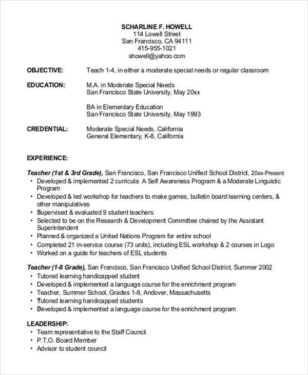 16 basic education resumes free premium templates