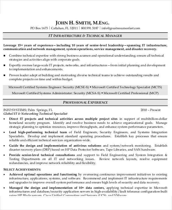 25+ IT Resume Design Templates - PDF, DOC | Free & Premium Templates