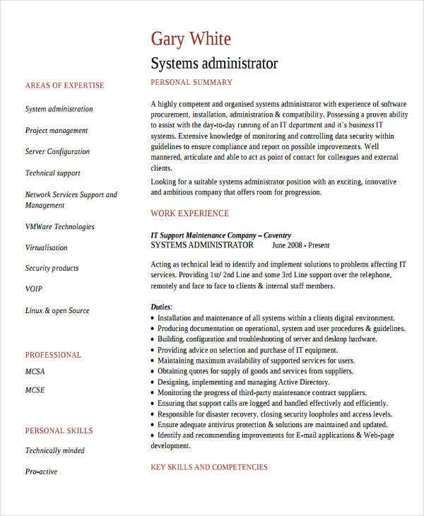 it systems administrator resume