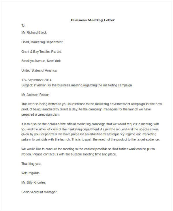 51 formal letter format template free premium templates formal business meeting letter friedricerecipe Images