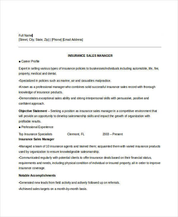 insurance sales executive resume1