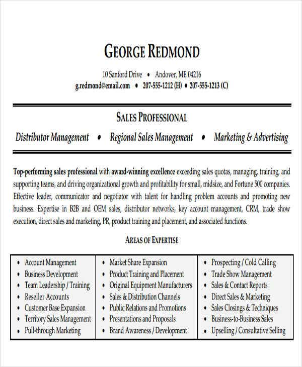 Business Sales Resume Sample  Direct Sales Resume
