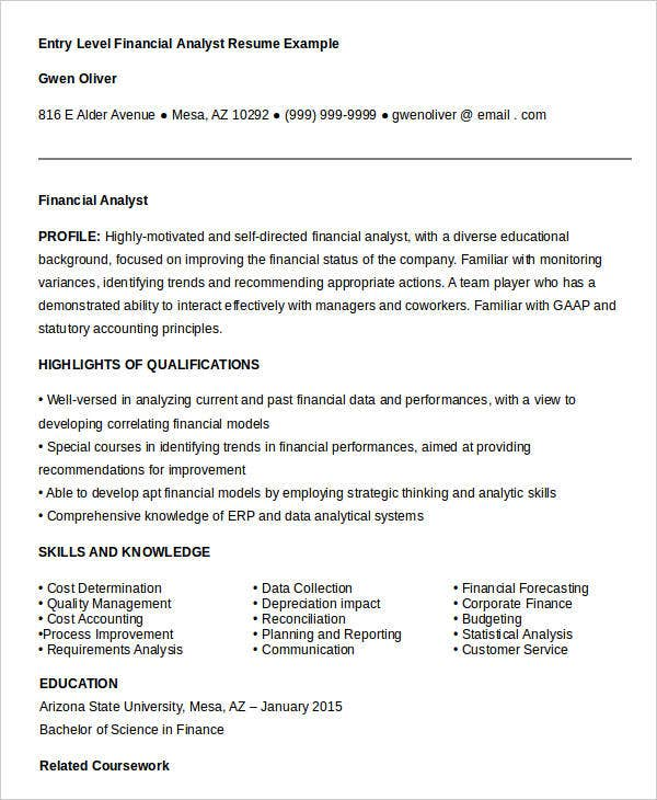 resume for financial analyst fresher