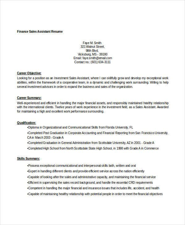 finance sales assistant resume2