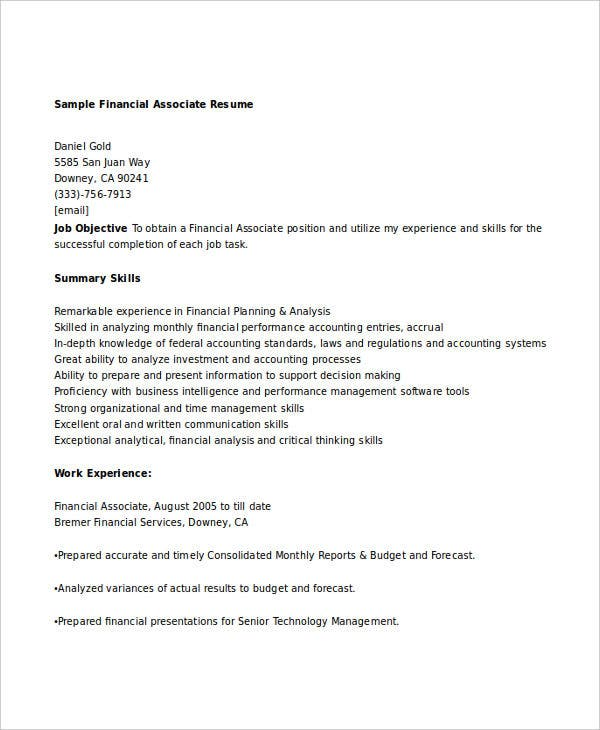 finance resumes 26 free ms word format download free