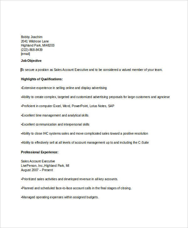 sales account executive resume1