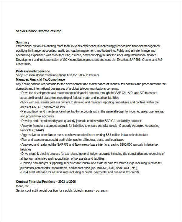 Senior Finance Director Resume. Resumeindex.com  Finance Director Resume
