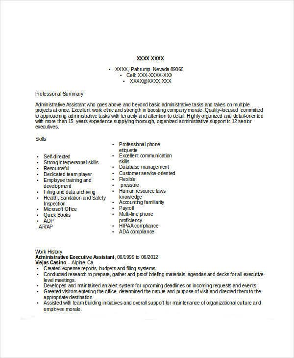 administrative executive assistant resume3