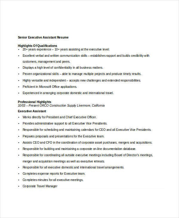 Professional executive resume template 34 word pdf for Sample resume for executive assistant to senior executive