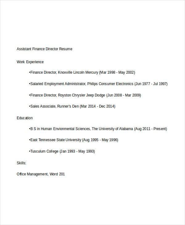 28+ Finance Resume Templates - PDF, DOC | Free & Premium Templates