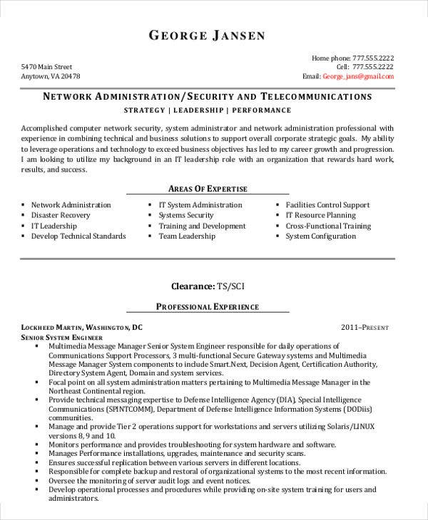 senior it administrator resume