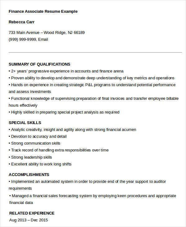 23  finance resume templates