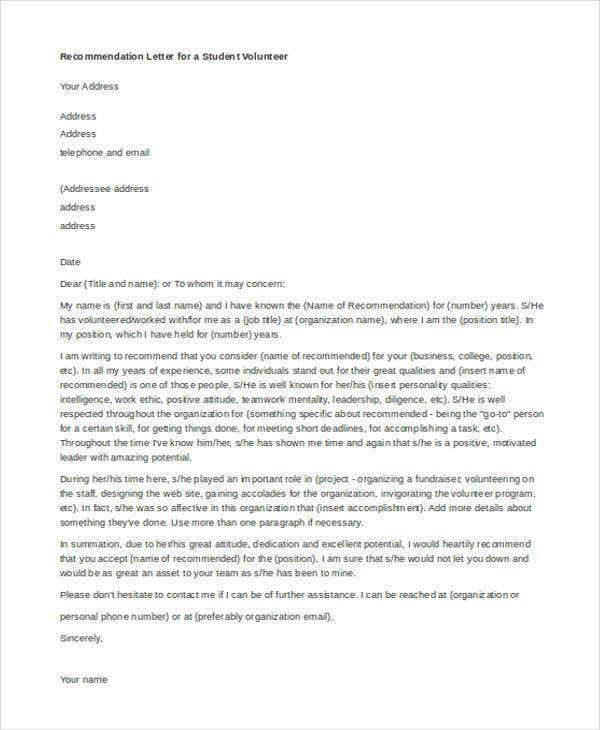 recommendation letter for a student volunteer2
