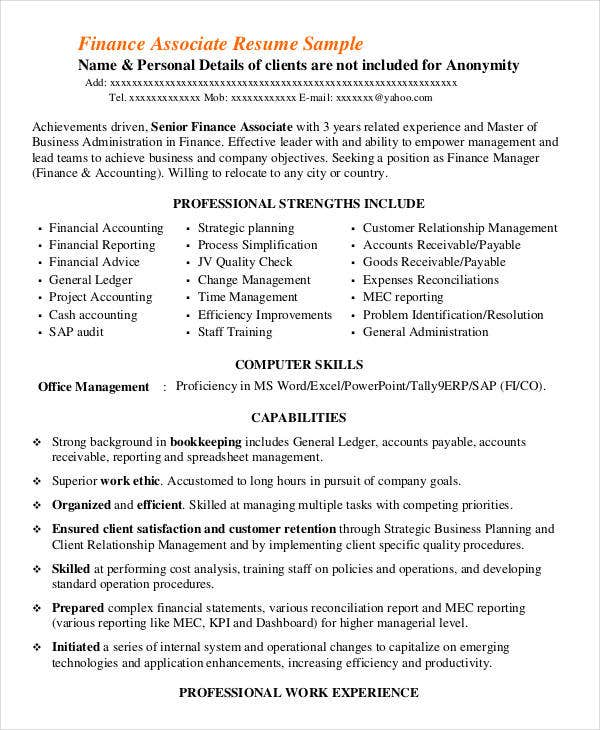 Project Finance Associate Resume  Finance Resume Skills