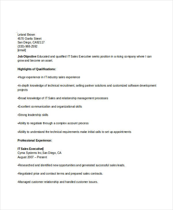 it sales executive resume