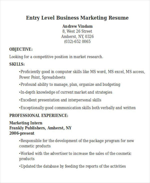 entry level business marketing resume1