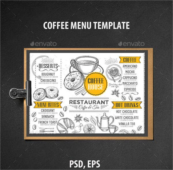25 party menu psd free premium templates for Tea party menu template