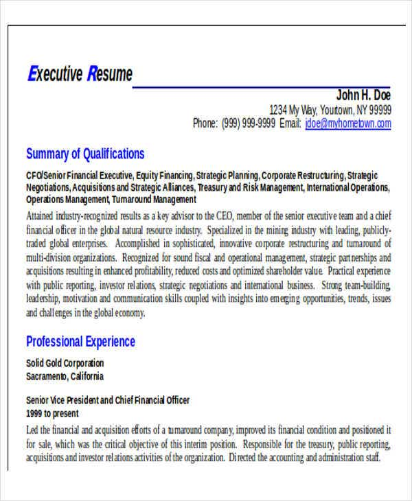 business executive resume format