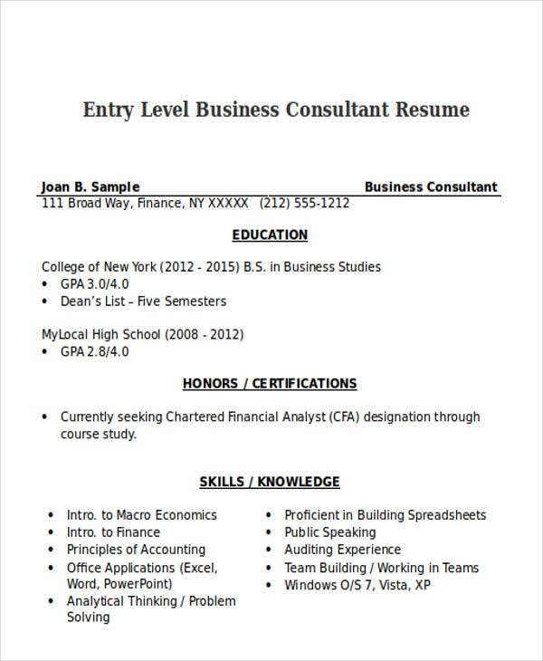 entry level business consultant resume money zinecom - Business Consultant Resume Sample